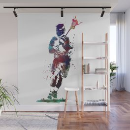 Lacrosse player art 2 Wall Mural