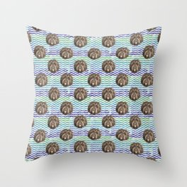Fluffy Doggy over Beach Waves - Pattern Throw Pillow