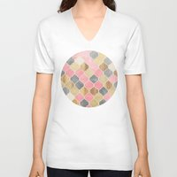 bedding V-neck T-shirts featuring Silver Grey, Soft Pink, Wood & Gold Moroccan Pattern by micklyn