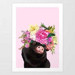 Flower Crown Black Baby Pig in Pink Art Print