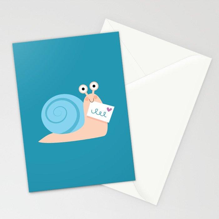 Blue snail mail Stationery Cards