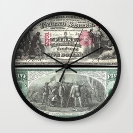 1875 Series U.S. Federal Reserve Five Dollar Bank of Deadwood - Christopher Columbus in Sight of Lan Wall Clock