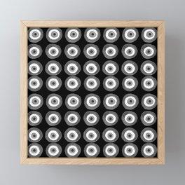 Evil Eye Amulet Talisman Black White Gray on black Framed Mini Art Print