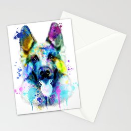 German Shepherd Watercolor, Watercolor Dog print, German Shepherd Print, German Shepherd Art Stationery Cards