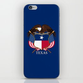 Texas flag and eagle crest concept iPhone Skin