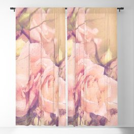 Soft Pink Roses Watercolour - Image and Poem Blackout Curtain
