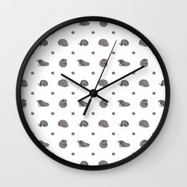 Roly Poly Parade! Gray on White Wall Clock