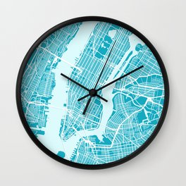 New York Map |Aqua| More Colors, Review My Collections Wall Clock
