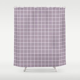 Heliotrope gray - grey color - White Lines Grid Pattern Shower Curtain