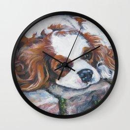 Beautiful Blenheim Cavalier King Charles Spaniel Dog Art Painting by LA.Shepard Wall Clock