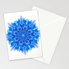Blue watercolor snowflake Stationery Cards