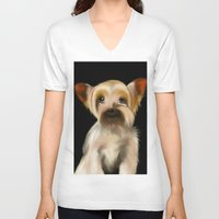 yorkie V-neck T-shirts featuring Yorkie on Black by barefoot art online