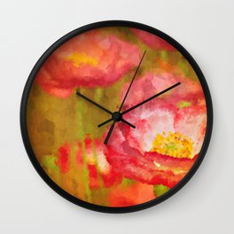 Red and White Poppy Flowers Abstract Botanical Garden Floral Landscape Wall Clock
