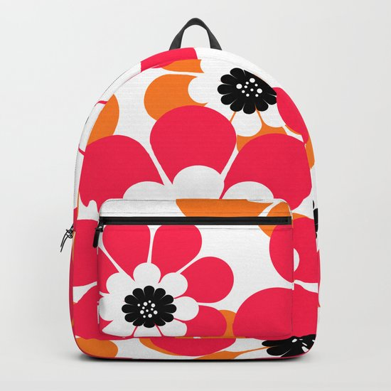 The floral pattern . red and yellow on a white background . Backpack