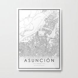 Asunción City Map Paraguay White and Black Metal Print