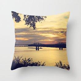 Golden Mississippi River Sunset Throw Pillow