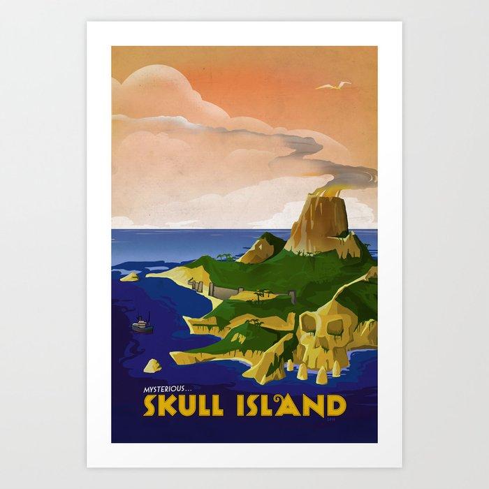Skull Island Retro Travel Poster Art Print