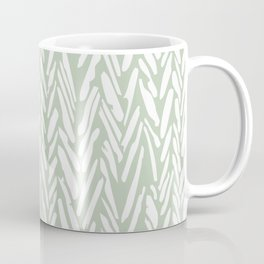 Light green herringbone pattern with cream stripes Coffee Mug