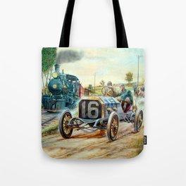 Vintage Cars Racing Scene,train painting Tote Bag