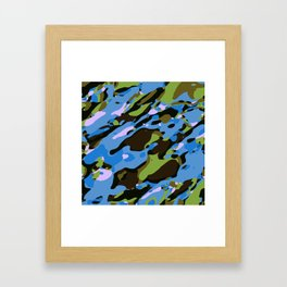 green blue and brown camouflage graffiti painting abstract background Framed Art Print