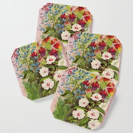 Vintage Flowers Advertisement Collage Coaster