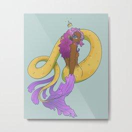 Crowned Mermaid Metal Print
