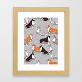 Origami Collie doggie friends Framed Art Print