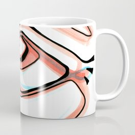 Abstract Open Eye Line Drawing with Red and Blue Coffee Mug