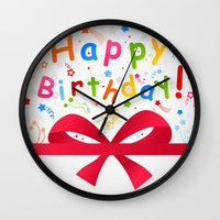 birthday Wall Clocks featuring Birthday by aleksander1