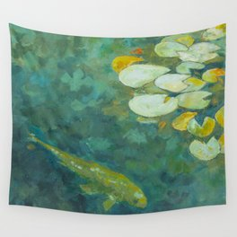 Serene koi lily pond Wall Tapestry