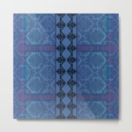 AGED PARCHMENT DAMASK, CUT VELVET in BLUE Metal Print