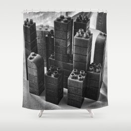 Playing in the city of bricks and stones Shower Curtain