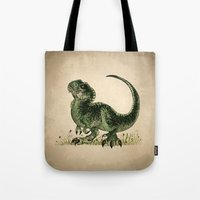 trex Tote Bags featuring Baby T-Rex by River Dragon Art