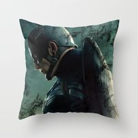 steve rogers Throw Pillows featuring Steve Rogers 006 by TheTreasure
