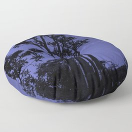 Exotic Tropical Trees Silhouette, Socotra Island Blue Floor Pillow