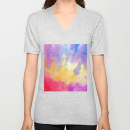 Watercolor Abstract Landscape Yellow Red and Blue Unisex V-Neck