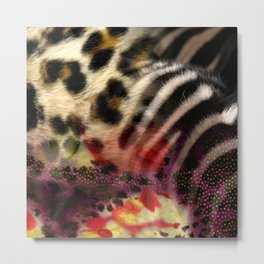 Animal Print & Floral Collage Metal Print