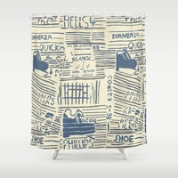shoe Shower Curtains featuring Shoe by Becca Hardingham