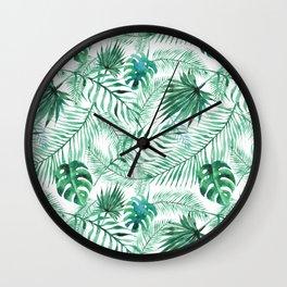 Watercolour Palm Leaf Wall Clock
