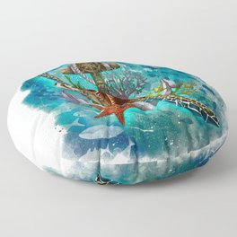 Turtle and Sea Floor Pillow