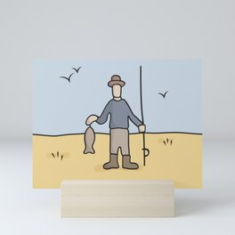 Beavid and Butthead Fisherman picture Mini Art Print