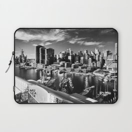 Sydney City and Barangaroo View from Darling Harbour in Black and White Laptop Sleeve
