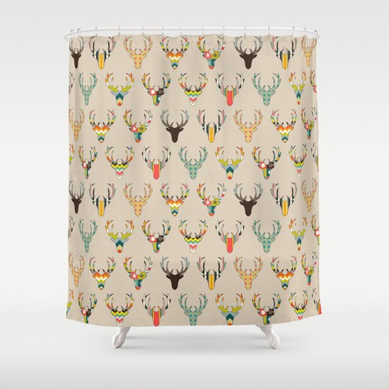 Retro Deer Head On Linen Shower Curtain By Sharon Turner