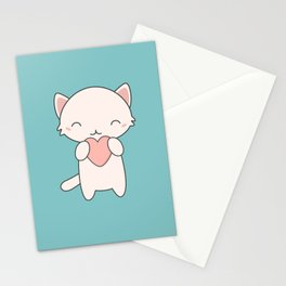Kawaii Cute Cat With Hearts Stationery Cards