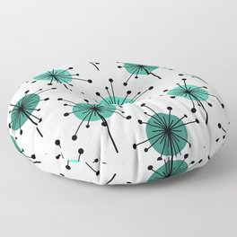 Atomic Era Sputnik Starburst Flowers Turquoise Floor Pillow