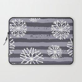 Winter violet lilac white  snow flakes stripes Laptop Sleeve