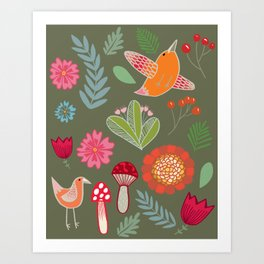 Flora & Fauna of The Great Outdoors In Green Art Print