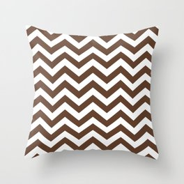Chocolate Brown Chevron Zig Zag Pattern Throw Pillow