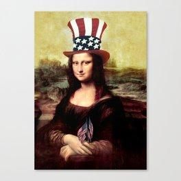 Patriotic Mona Lisa Canvas Print