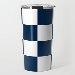 Large Checkered - White and Oxford Blue Travel Mug